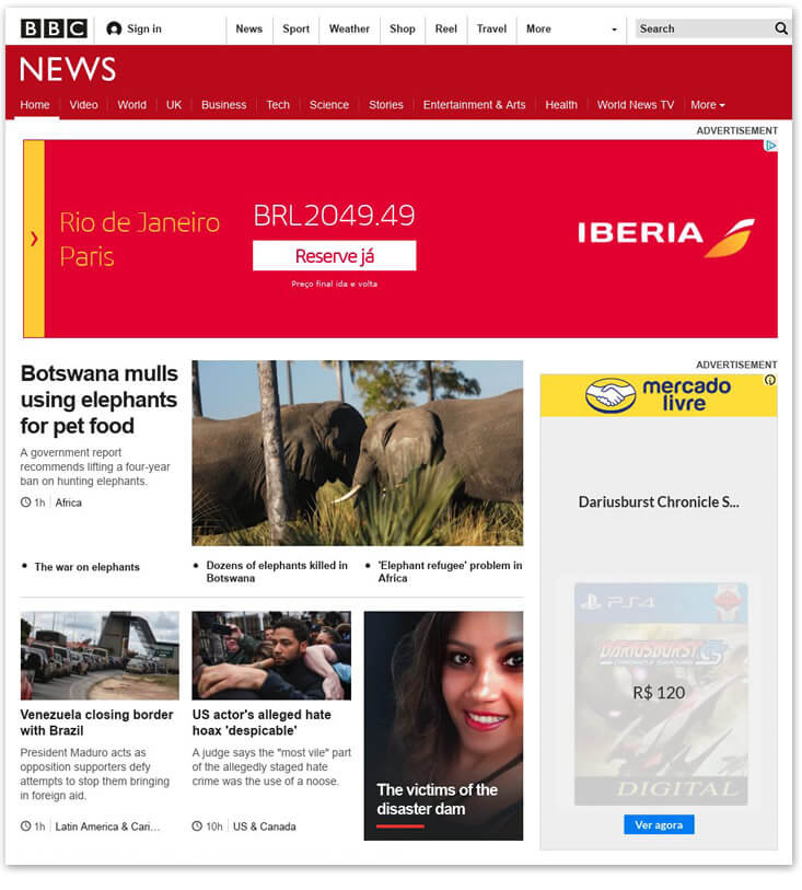 BBC News home page with adverts