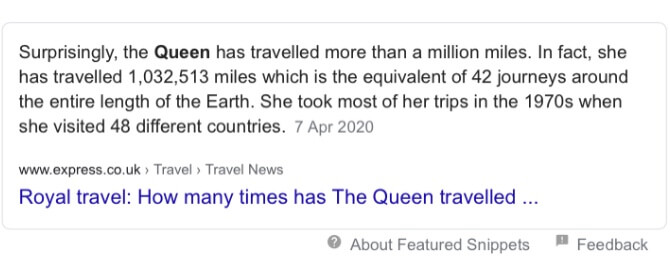 How far does the queen travel? Search Phrase
