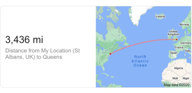 How far is Queens? from St Albans